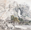 A Swiss farm at the foot of two waterfalls - Friedrich Salathe
