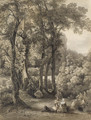 A seated couple and their dog in a glade - Friedrich Salathe