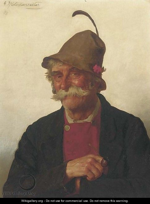 Portrait of a man with a pipe - G.Hugo Kotschenreiter