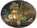 Grapes, peaches, a pear, walnuts, cherries and currants on a ledge - French School