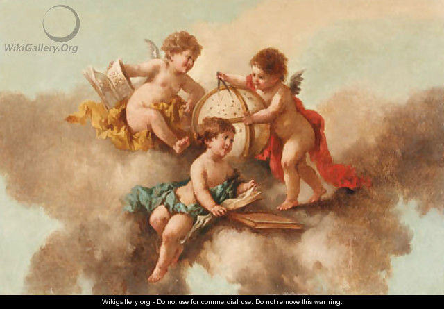 Putti with a Globe and a Compass - French School