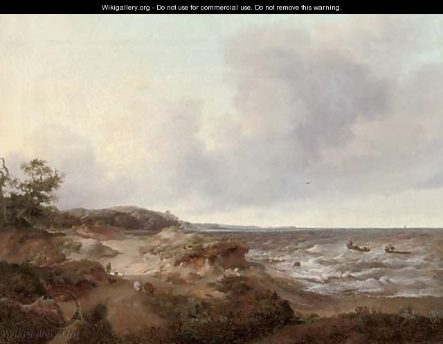 A coastal landscape with a shepherd and his flock, fishermen in their boats out to sea - French School