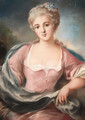 Portrait of a young lady in a pink dress with flowers in her hair - French School