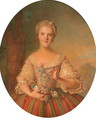Portrait of a lady, half length, holding a pink carnation - French School