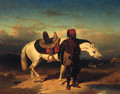 An Arab Horseman And His Steed - French School