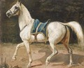 A saddled grey charger, thought to be Napoleon's horse Marengo - French School