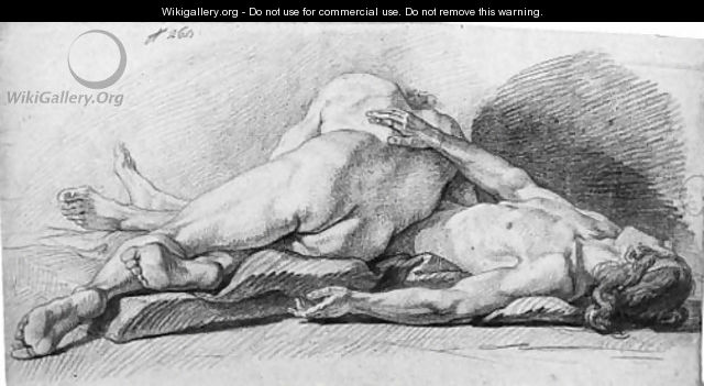Two reclining nudes - French School
