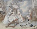 The children of a noble family playing in an elegant park attended by a page, a pug in the foreground - French School