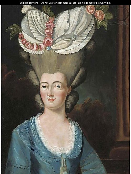 Portrait of a lady, bust-length, in an elaborate floral headress - French School