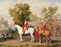 The Duke of Orleans and his son, The Duke of Chartres, hunting - French School