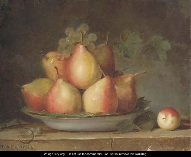 Pears and grapes on the vine in a dish on a ledge - French School