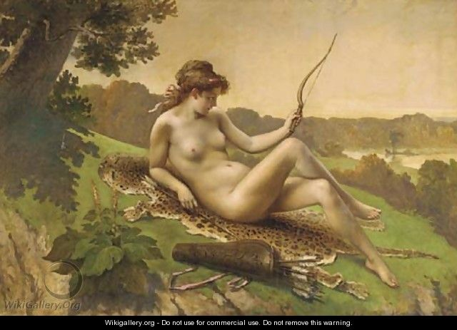 Diana the huntress resting - French School