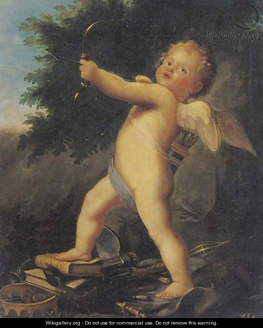 Cupid, an allegory of love triumphant - French School