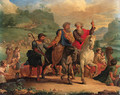 Moses and Aaron leading the Israelites in the Exodus - French School
