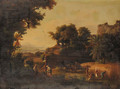 An Italianate river Landscape at Sunset with Ruth meeting Boaz - French School