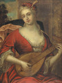 Portrait of a lady wearing a red dress with lace chemise and feathered red cap, playing the lute - French School