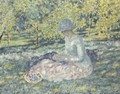 Woman Seated in a Park with Basket - Frederick Carl Frieseke
