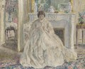 Woman Seated by a Fireplace - Frederick Carl Frieseke