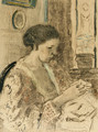 The Artist's Wife Sewing - Frederick Carl Frieseke