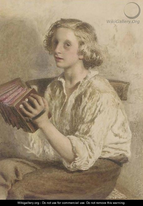 The accordian player - Frederick Smallfield, A.R.W.S.