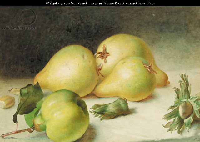 Still-life with a pear, quinces and beechnuts - Frederick Smallfield, A.R.W.S.