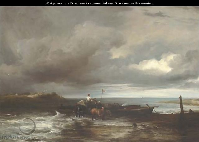 An estuary scene with figures unloading a ferry - Frederick Richard Lee