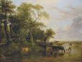 A Woody River Scene, with Cows Watering - Frederick Richard Lee