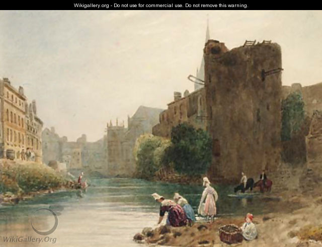 Women washing clothes in a French town river - Frederick Nash