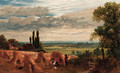Harvesters resting in an extensive landscape - Frederick William Hulme