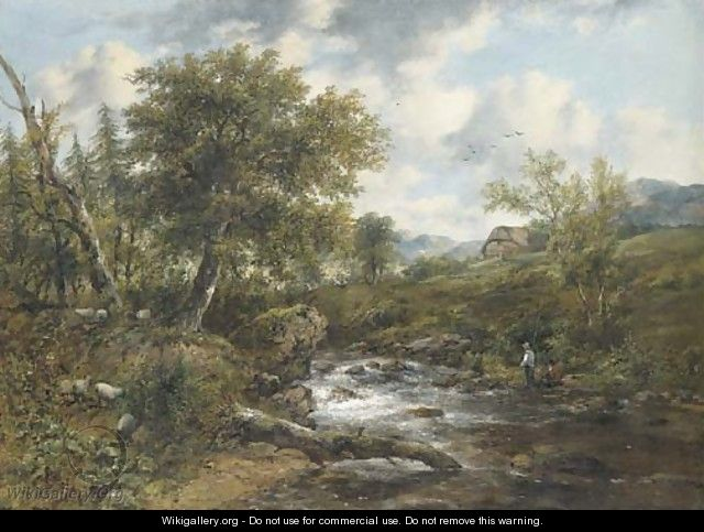 A wooded river landscape with fishermen and sheep on the banks, a cottage beyond - Frederick Waters Watts
