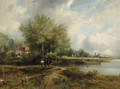 A wooded river landscape with a barge and cottages - Frederick Waters Watts