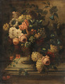 Flowers in a Vase and Grapes on a stone Plinth - French School