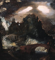 A fantasy landscape with thunderstorm at night - Frederik Valckenborch