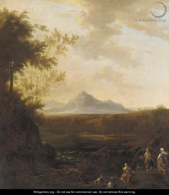 An extensive river landscape with a goatherd playing a pipe and two peasants dancing - Frederick De Moucheron