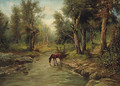 A Horse watering in a wooded River Landscape - Frederico Capuano