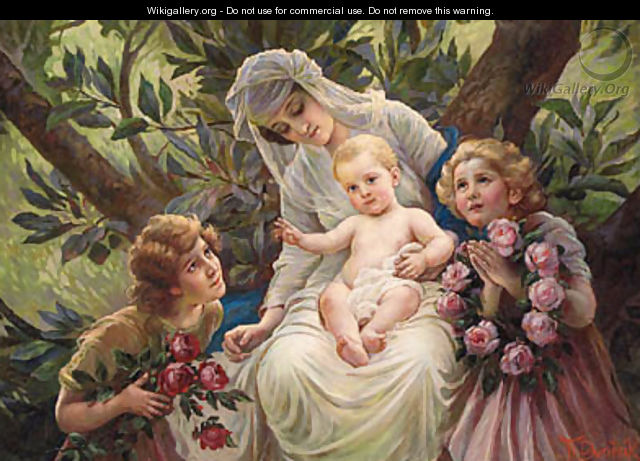 A Floral Tribute to a Mother and Child - Franz Dvorák