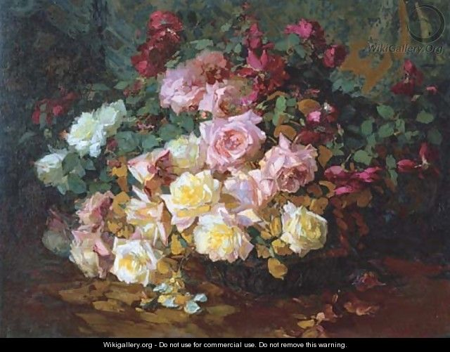 A Mixed Bouquet of Roses - Franz Bischoff