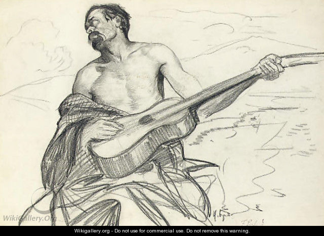 Study of a man with a guitar - Franz Roubaud