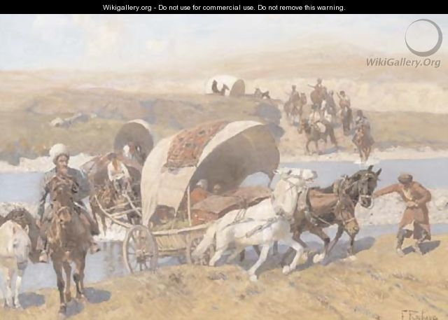 Kosaks on the move - Franz Roubaud