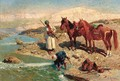 Arab horsemen washing by a river - Franz Roubaud