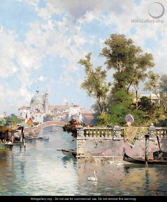 The Rio Ognissanti and the church of the Gesuiti, Venice - Franz Richard Unterberger