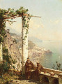 Monks on a terrace, with Amalfi beyond - Franz Richard Unterberger