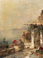 An Artist sketching on a Balcony, with Amalfi beyond - Franz Richard Unterberger