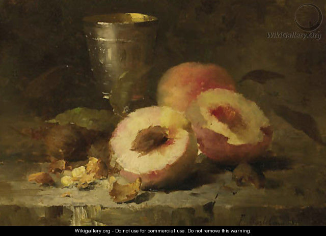 A still life with peaches - Frans Mortelmans