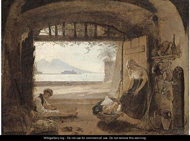 Neapolitan fisherfolk in a hut before the Bay of Naples - Franz Ludwig Catel