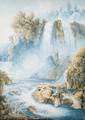 The falls at Tivoli, two anglers in the foreground - Franz Keiserman