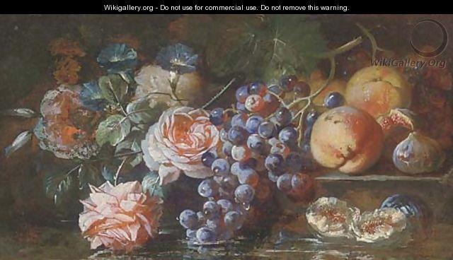 Grapes on the vine, figs, peaches, roses and morning glory resting on a stone ledge before a pool of water - Franz Werner von Tamm