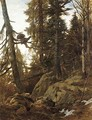 A heath cock roosting in an Alpine forest - Franz Von Pausinger