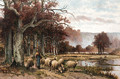Sheep grazing under a tree - Franz van Severdonck