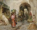 Going to the Bath on rue du Sphinx, Algiers - Frederick Arthur Bridgman